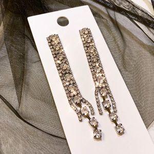 Clear Rhinestone Faux Diamond Silver Earrings
